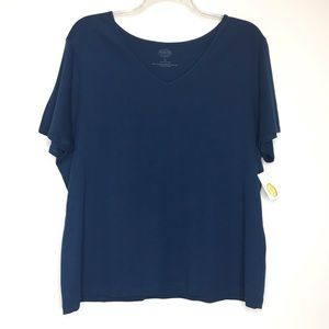 Talbots 3X Pima Cotton Tee V Neck Navy Blue NWT